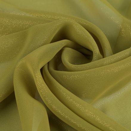 Metráž: Šifón zlatý lesk - khaki zelená