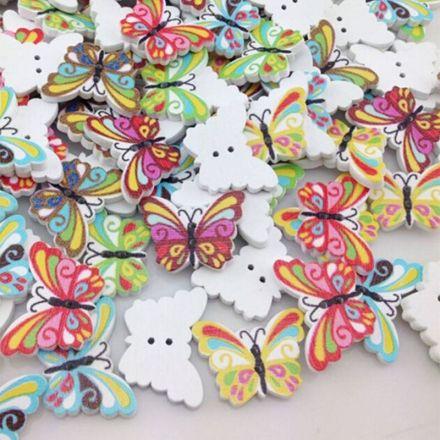 Galanterie: Dřevěný knoflík motýl 17 x 24 mm (3ks)