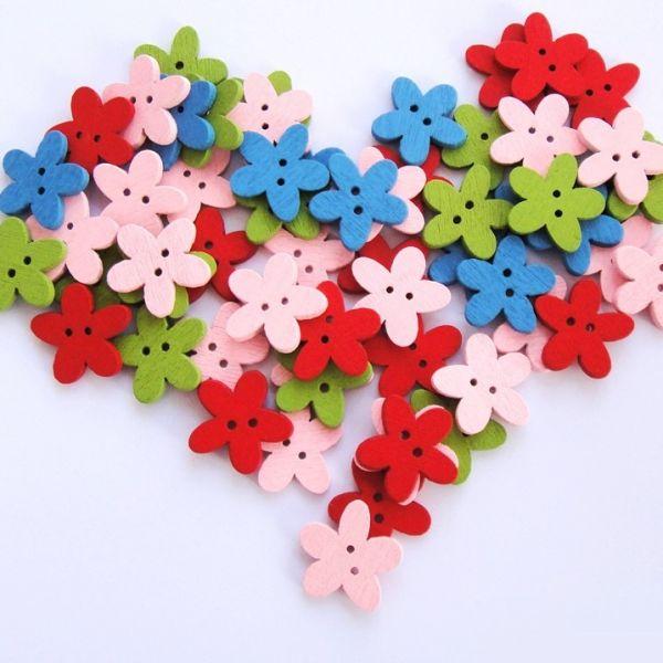 Dřevěný knoflík květ 15 mm (10ks) - mix