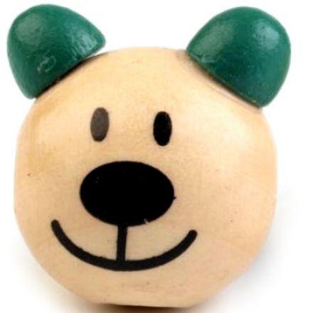 Galanterie: Dřevěná hlava medvídek 24 mm (1ks) - zelená