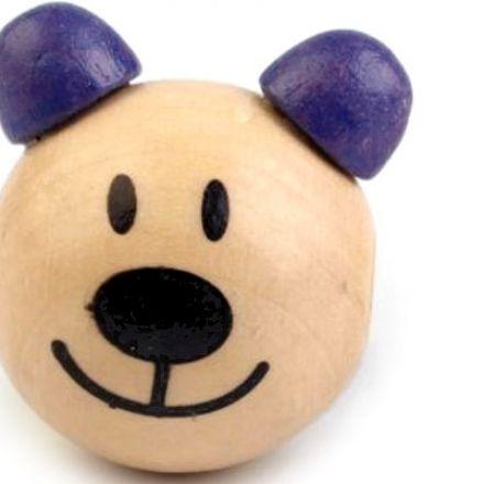 Galanterie: Dřevěná hlava medvídek 24 mm (1ks) - modrofialová