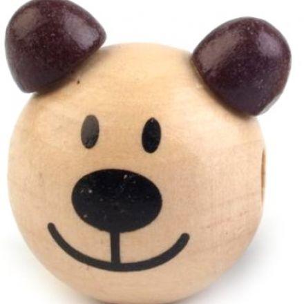 Galanterie: Dřevěná hlava medvídek 24 mm (1ks) - hnědá