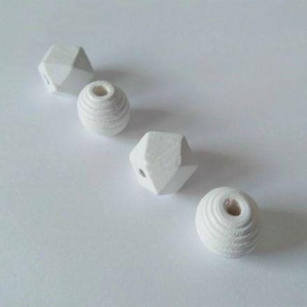 Galanterie: Dřevěné korálky mix (4ks) - bílá