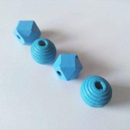Galanterie: Dřevěné korálky mix (4ks) - modrá