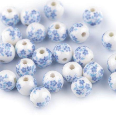 Galanterie: Porcelánové korálky 8 mm (1ks) - modrá