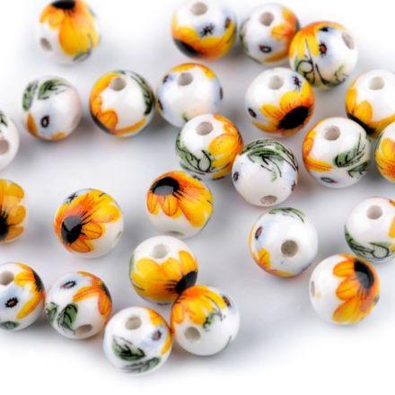 Galanterie: Porcelánové korálky 8 mm (1ks) - žlutá