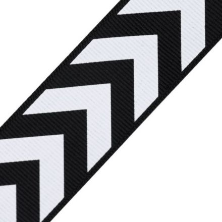 Galanterie: Lampas / rypsová stuha šíře 32 mm - černobílá
