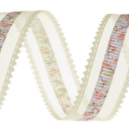 Galanterie: Monofilová stuha s květy šíře 24 mm - krémová