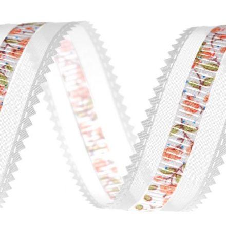 Galanterie: Monofilová stuha s květy šíře 24 mm - bílá