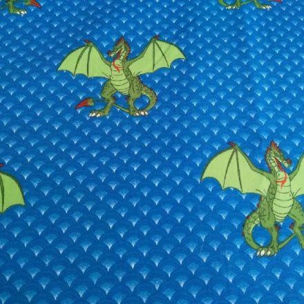 Metráž: Bavlna drak - modrá
