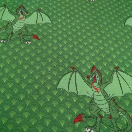 Metráž: Bavlna drak - zelená