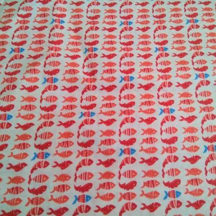 Metráž: Bavlna rybičky - červená