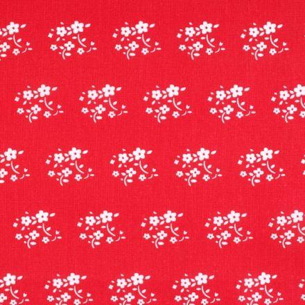 Metráž: Bavlna kytičky - červená