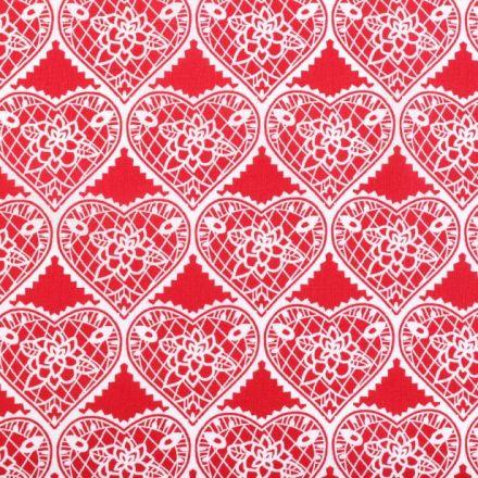 Metráž: Bavlna srdce - červená
