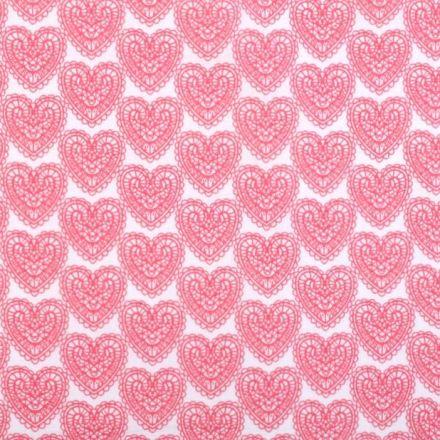 Metráž: Bavlna srdce - růžová