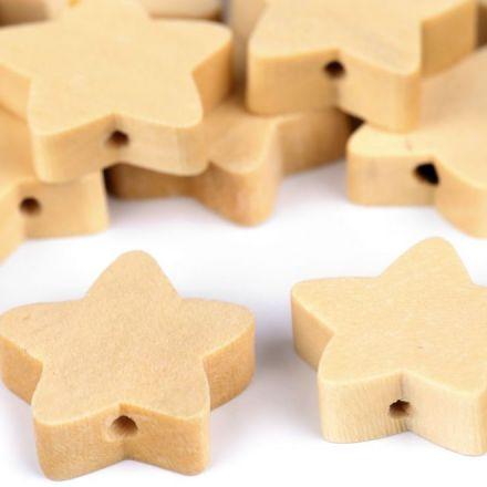 Galanterie: Dřevěné korálky 20 mm (20ks) - hvězda