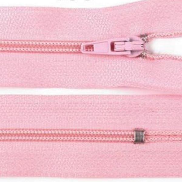 Zip nedělitelný 20 cm - světle růžová