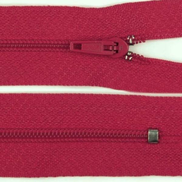 Zip nedělitelný 20 cm - tmavě růžová