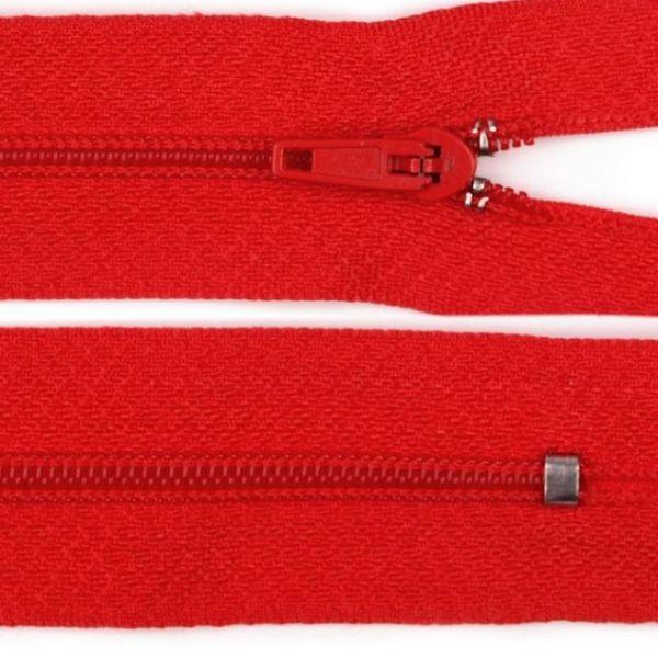Zip nedělitelný 20 cm - červená