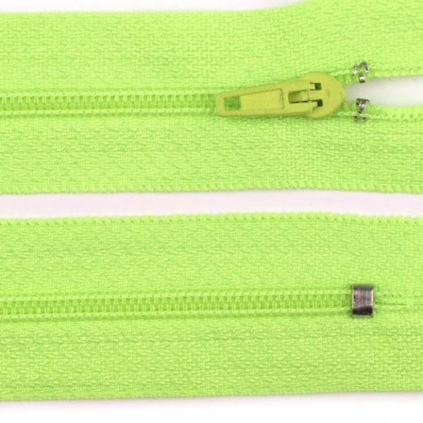 Zip nedělitelný 20 cm - neon žlutozelený