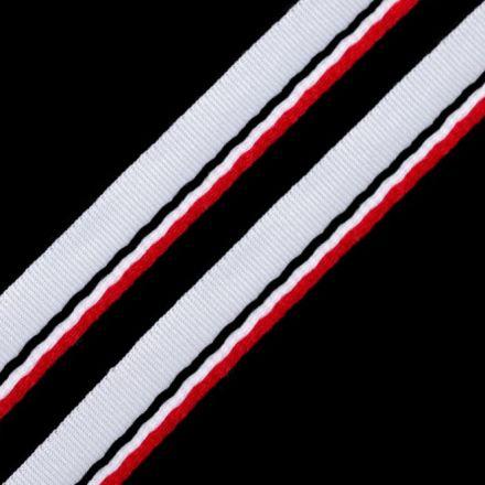 Galanterie: Paspulka šíře 9 mm - černobíločervená