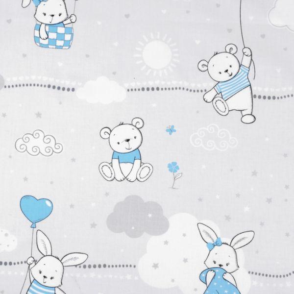 Bavlněná látka s dětskými motivy - modrá zajíc