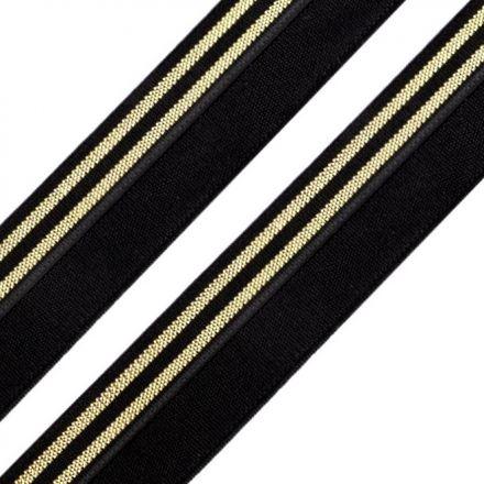 Galanterie: Lemovací pruženka šíře 20 mm (1m) - černozlatá