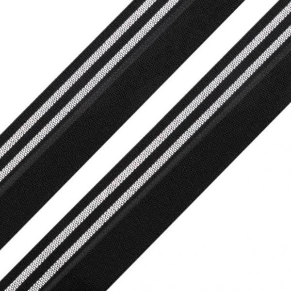 Lemovací pruženka šíře 20 mm (1m) - černostříbrná
