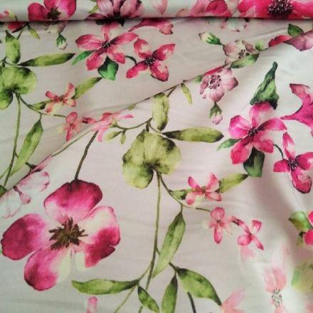 Metráž: Saténová šatovka - květy na světle šedé