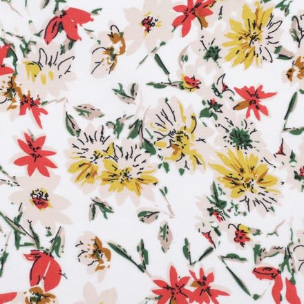 Metráž: Viskózová látka květy - bílá