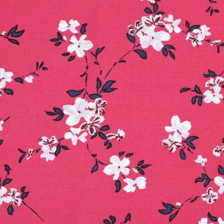 Metráž: Viskózová látka květy - růžová