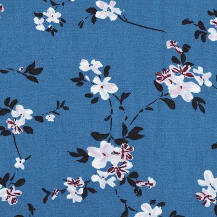 Metráž: Viskózová látka květy - petrolejová