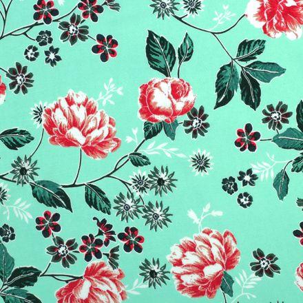 Metráž: Viskózová látka květy - mint