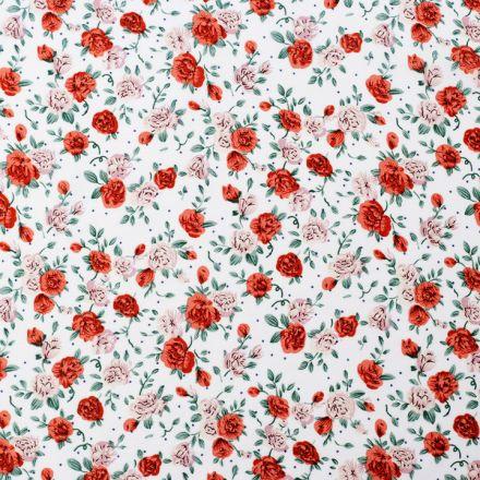 Metráž: Viskózová látka květy - krémová