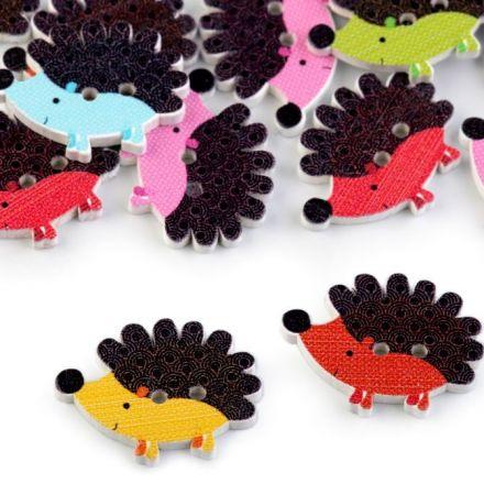 Galanterie: Dřevěný dekorační knoflík - ježek