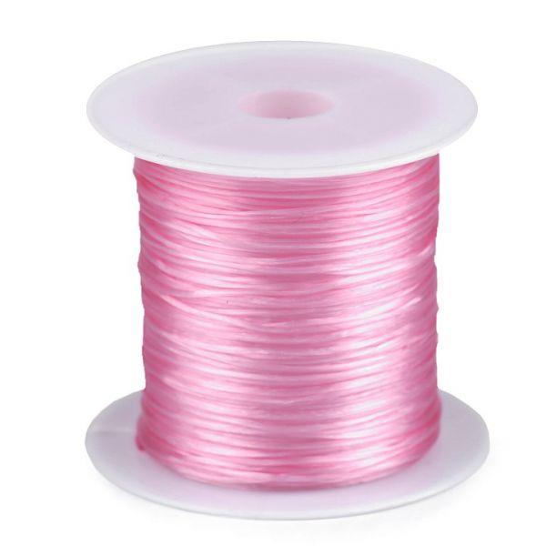 Pruženka / gumička plochá 1 mm - růžová
