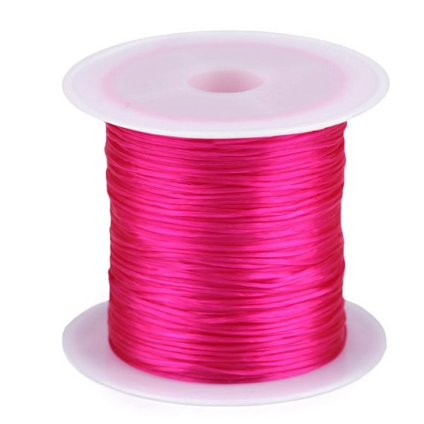 Pruženka / gumička plochá 1 mm - růžová neon