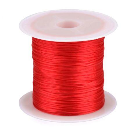 Galanterie: Pruženka / gumička plochá 1 mm - červená
