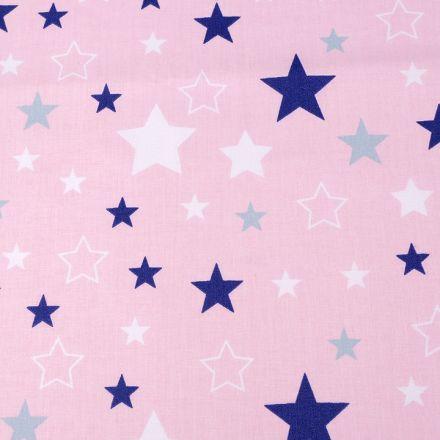 Metráž: Bavlněná látka hvězdy - růžová