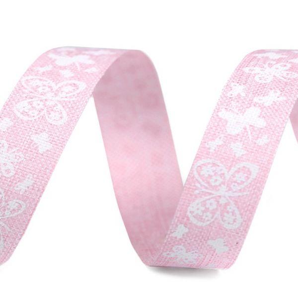 Plátnová stuha šíře 15 mm - růžová