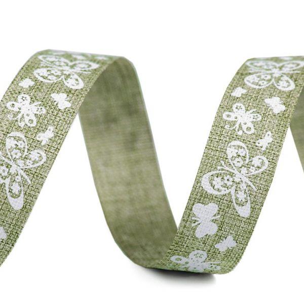 Plátnová stuha šíře 15 mm - zelenkavá