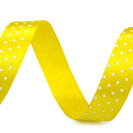 Galanterie: Saténová stuha puntík šíře 15 mm (1m) - žlutá