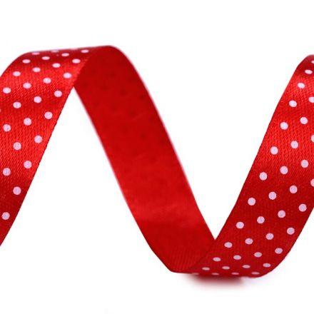 Galanterie: Saténová stuha puntík šíře 15 mm (1m) - červená
