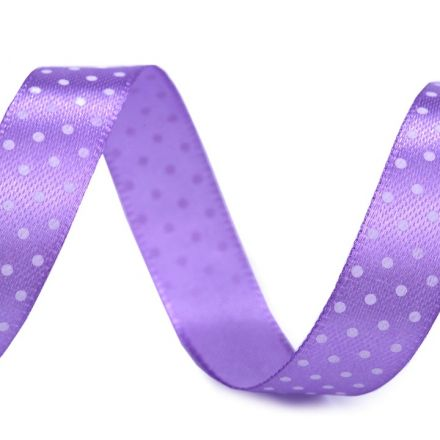 Galanterie: Saténová stuha puntík šíře 15 mm (1m) - sv.fialová