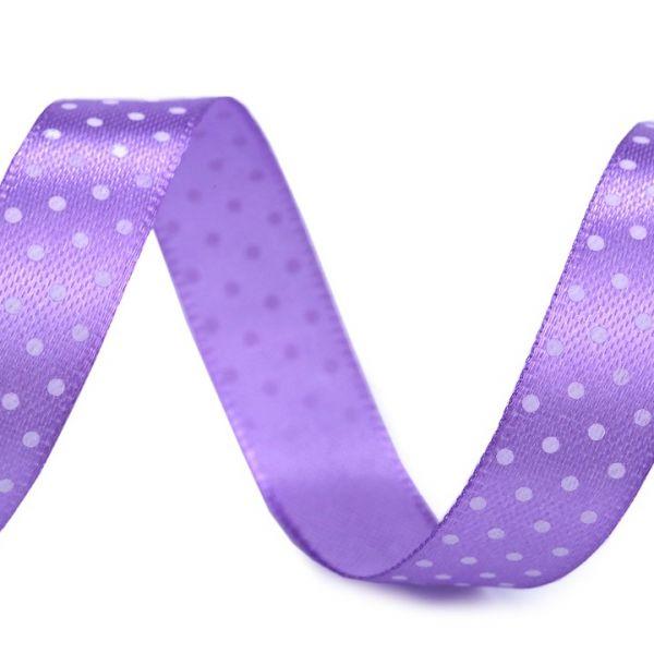 Saténová stuha puntík šíře 15 mm (1m) - sv.fialová