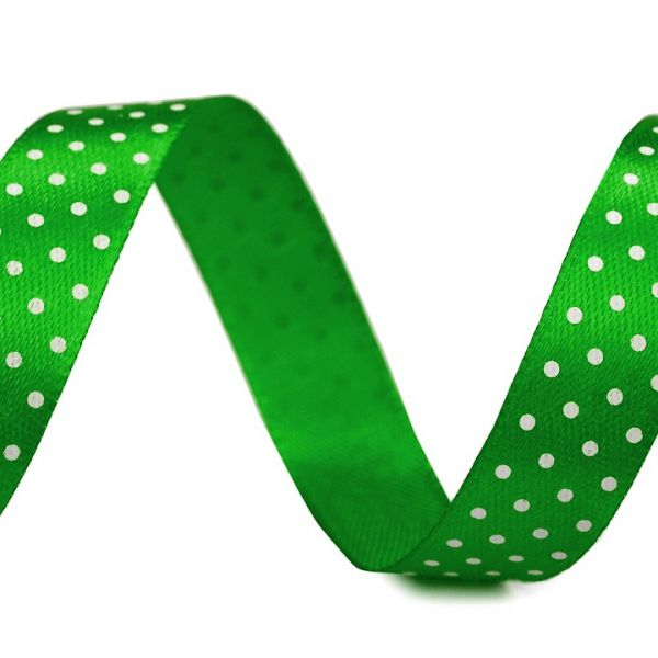 Saténová stuha puntík šíře 15 mm (1m) - zelená
