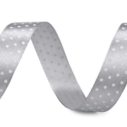 Galanterie: Saténová stuha puntík šíře 15 mm (1m) - šedá