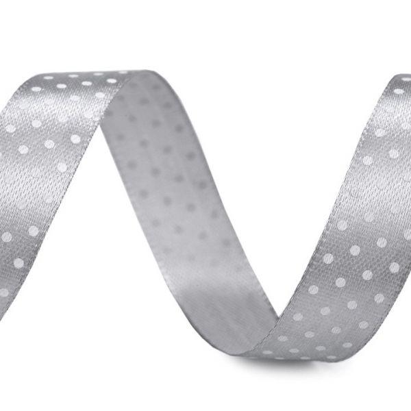 Saténová stuha puntík šíře 15 mm (1m) - šedá