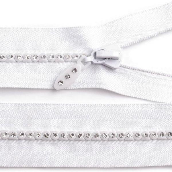 Kostěný zip délka 65 cm - bílá