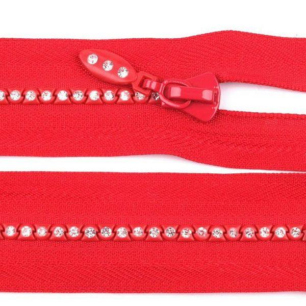 Kostěný zip délka 65 cm - červená